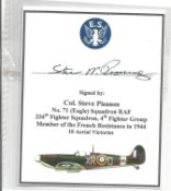WW2 Col Steve Pisanos signature piece. Good Condition. All autographs come with a Certificate of