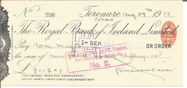 Patrick Pearse signed cheque (1879-1916) Irish Nationalist & Political Activist, one of the