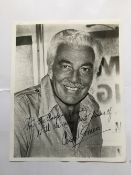 Cesar Romero signed 10 x 8 inch b/w photo to the Cooper Family. Good condition. All signed pieces