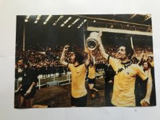 Frank McLintock signed 12 x 8 inch colour football photo, parading the FA Cup with Charlie George.