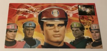 Gerry Anderson signed 2008 Thunderbirds cover. Good condition. All signed pieces come with a