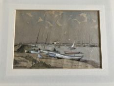 James Mason signed original watercolour painting. A nice beach boating scene from Southwold in