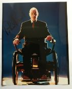 X Men Patrick Stewart signed 10 x 8 inch colour photo in wheelchair. Good condition. All signed