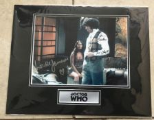 Dr Who Tom Baker and Louise Jameson signed 10 x 8 inch colour photo, mounted with plaque to
