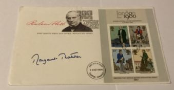 Prime Minister Margaret Thatcher signed 1979 Rowland Hill Miniature sheet FDC. Good condition. All