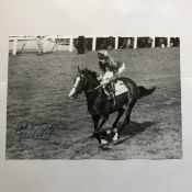 Horse Racing Michael Stoute signed 12 x 8 inch b/w photo of one of his horses in action. Good