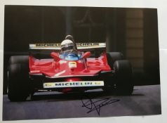 Motor Racing Jody Scheckter signed 12 x 8 inch colour action photo. Good condition. All signed
