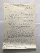 WW2 Colditz escaper Pat Reid MC handwritten one page letter asking author Alan Cooper for help