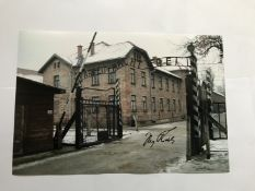 WW2 Iby Knill signed 12 x 8 inch colour Auschwitz photo. Good condition. All signed pieces come with