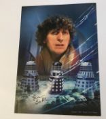 Dr Who Tom Baker signed 12 x 8 inch colour photo. Good condition. All signed pieces come with a