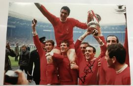 Ian St John signed 12 x 8 inch colour Liverpool football photo celebration with FA cup. Good