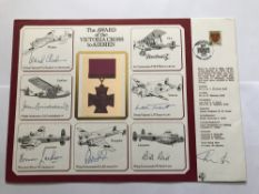 WW2 Victoria Cross multiple signed A4 DM Medal cover. Signed by Seven winners, Gp Capt Leonard