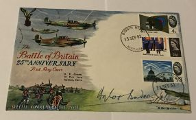 WW2 Douglas Bader DFC signed 1965 Battle of Britain FDC, 3 stamps and Biggin Hill FDI postmark. Good