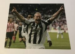Alan Shearer signed 10 x 8 inch Newcastle football colour goal celebration photo. Good condition.