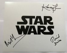 Star Wars 10 x 8 inch b/w photo signed by Michael Henbury, Richard Stride and Kamay Lau. Good