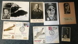 WW2 Luftwaffe aces signed photograph and cover collection. Four photos inc Gunter Rall KC, Field.