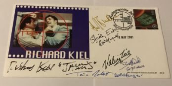 James Bond multiple signed Richard Kiel BHC cover. Signed by Richard Kiel, Honor Blackman,