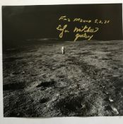 Apollo 14 Moonwalker Dr Ed Mitchell signed 12 x 12 inch b/w space book page showing Ed on the