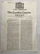 WW2 Leonard Cheshire VC signed A4 copy of his London Gazette Victoria Cross Award announcement.