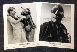 Highway to Hell two black and white lobby cards from the 1992 American B horror comedy film directed