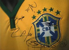 Brazil multi signed 16 x 12 inch colour football photo. Good Condition. All autographs come with a