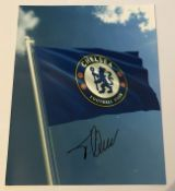 Football Timo Werner signed 10 x 8 inch colour Chelsea Flag photo. Good Condition. All autographs