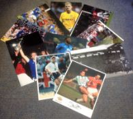 Football 10 assorted signed photos from players past and present some great names include Steve