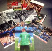 Football collection 10 assorted signed assorted photos some well-known names past and present
