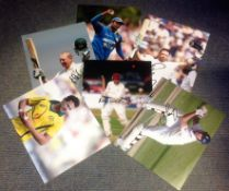 Cricket collection 6 signed colour photos from some great names includes Angelo Mathews, Ian Bell,