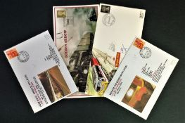 Railway FDC collection 4 covers includes Royal Engineers Postal and Courier service to commemorate