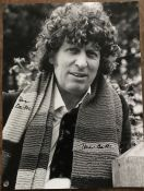 Dr Who Tom Baker signed 16 x 12 inch b/w photo, signed twice. Good Condition. All autographs come