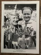 Football Ron Atkinson and Tommy Docherty signed 16 x 12 inch b/w montage photo. Good Condition.