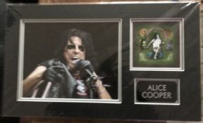 Alice Cooper music autograph on DVD Best of Alice Cooper insert matted with colour photo into