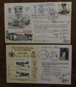 Battle of Britain two multiple signed RAF covers, 15 autographs inc top 5 Douglas Bader, Johnnie
