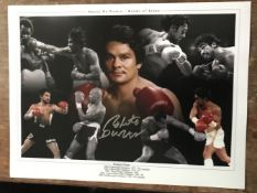 Boxing Roberto Duran signed 16 x 12 inch colour montage photo. Good Condition. All autographs come