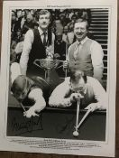 Snooker Steve Davis and Dennis Taylor signed 16 x 12 inch b/w photo. Good Condition. All