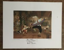 Pinocchio Eddie Carroll the voice of Jiminy Cricket signed 14 x 12 inch colour print. Good