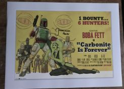 Star Wars Jeremy Bulloch Boba Fett signed 16 x 12 inch colour print of movie poster. Good Condition.