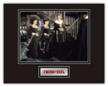 Stunning Display! Hammer Horror Twins Of Evil hand signed professionally mounted display. This