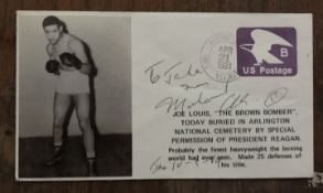 Muhammad Ali signed 1981 Joe Louis FDC, to Jake. Good Condition. All autographs come with a