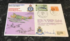 WW2 RAF Commodore Henricus J E Van Der Kop RNLN 320 Squadron. Signed on an RAF No. 320 (Dutch)