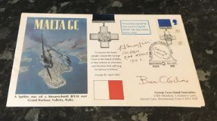 WW2 Malta Battle of Britain double signed cover Squadron Leader N J Ogilvie RCAF 185 Squadron RAF