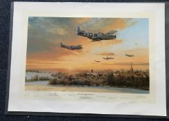 Robert Taylor Return to Duxford Winter of 44 Artist Proof signed by 6 American WW2 P 51 Mustang