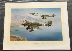 Robert Taylor Stuka Artist Proof signed by 4 Luftwaffe WW2 Stuka pilots. This is the Artist Proof