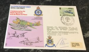 An RAF No. 320 (Dutch) Squadron Fokker T.VIII W cover 1976, flown in a Lockheed Neptune V and signed