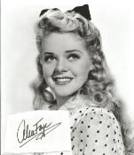 Alice Faye Signed Card With 10x8 Black And White Photo. Good condition. All autographs come with a