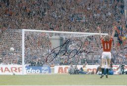 Autographed Jesper Olsen 12 X 8 Photo Col, Depicting The Man United Winger Celebrating Norman
