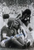 Autographed Tony Currie & Alan Birchenall 12 X 8 Photo B/W, Depicting The Moment When Sheffield