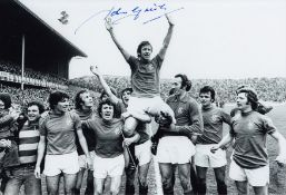 Autographed John Greig 12 X 8 Photo B/W, Depicting The Rangers Captain Being Chaired By Teammates