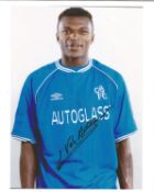 Marcel Desailly Signed Chelsea 8x10 Photo. Good condition. All autographs come with a Certificate of